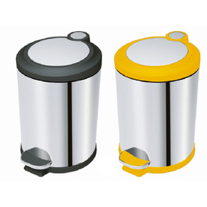 Plastic lid Round kitchen trash can food garbage waste bin with Foot Pedal