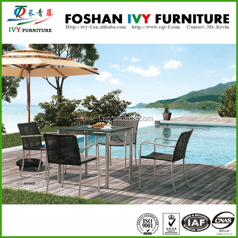 Stainless steel garden dining table outdoor furniture