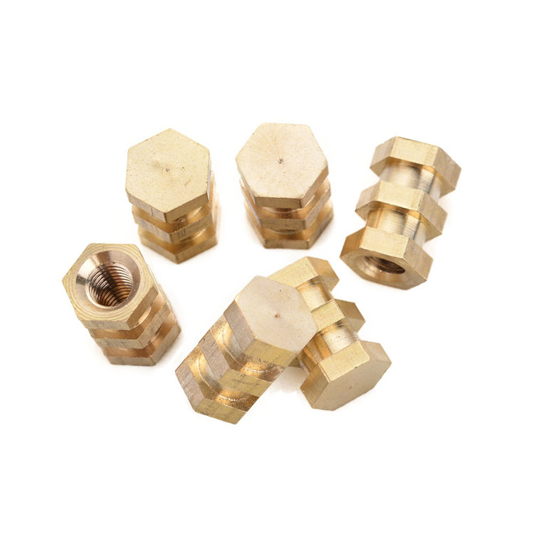 customize non standard brass copper fasteners hex nut with blind and through hole screw manufacture