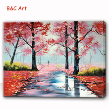 New Arrival Beautiful Red Leaves Tree Path Oil Painting on Canvas
