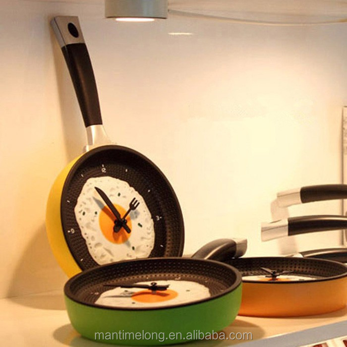 f75d40ea2 Wall Hanging Fried Egg Pan Clock Funny Creative Decro Any Room Omelette  Kitchen