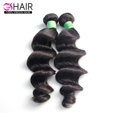 Natural black color easy to dye brazilian loose wave hair bundles