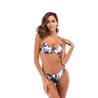 OEM new custom summer printing women Sexy Back Cross Bandage Swimwear Bikini