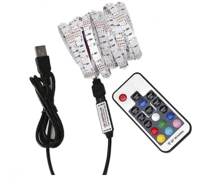 60 LED strip  light 16 Colors changing with 24 Keys RF Remote Control USB 5V TV Backlight