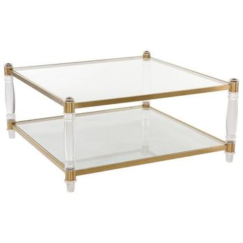 Custom Acrylic Furniture Clear Glass Gold Coffee Table Design Stainless Steel Tea