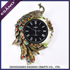 Newest resin gold-plated luxury loving peacock home decoration wall clock