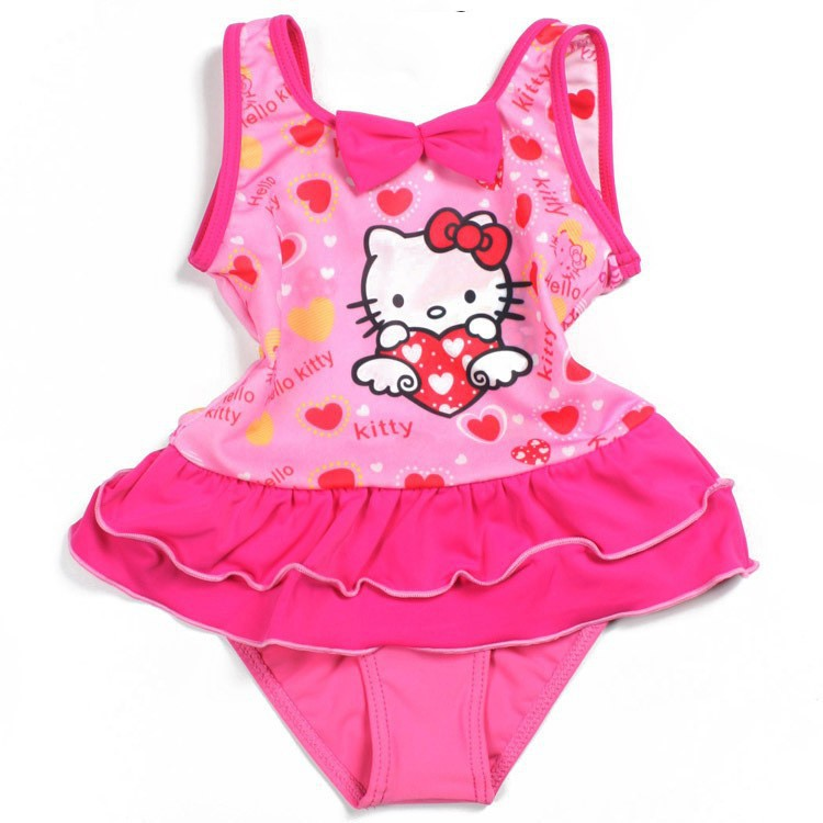 e9f227dd1f Get Quotations · 2014new hello kitty pink swimsuit with bowknots one piece girls  bathing suits hello kitty girls swimwear
