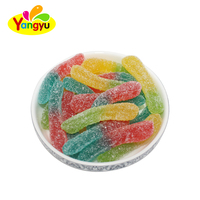 Wholesale soft fruit flavored worm Shape sugar coated gummy candy