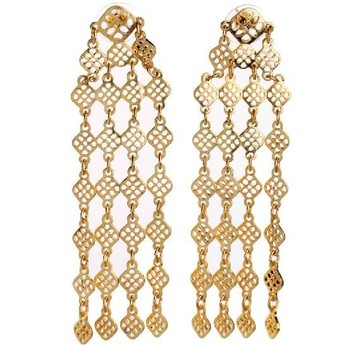 Very Long Size Gold Earrings Fashionable Costume Women