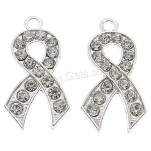 awareness autism breast cancer pregnancy and infant loss Ribbon Pendant Zinc Alloy platinum color 1106014