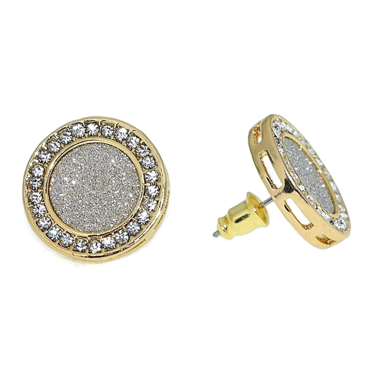 1c2a199d2 Get Quotations · HUGE 18mm Round Micro Pave Yellow Gold Tone Hip Hop Bling  Big Circle Iced-Out