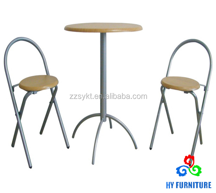 wooden pub table set round top high table and stools wholesale