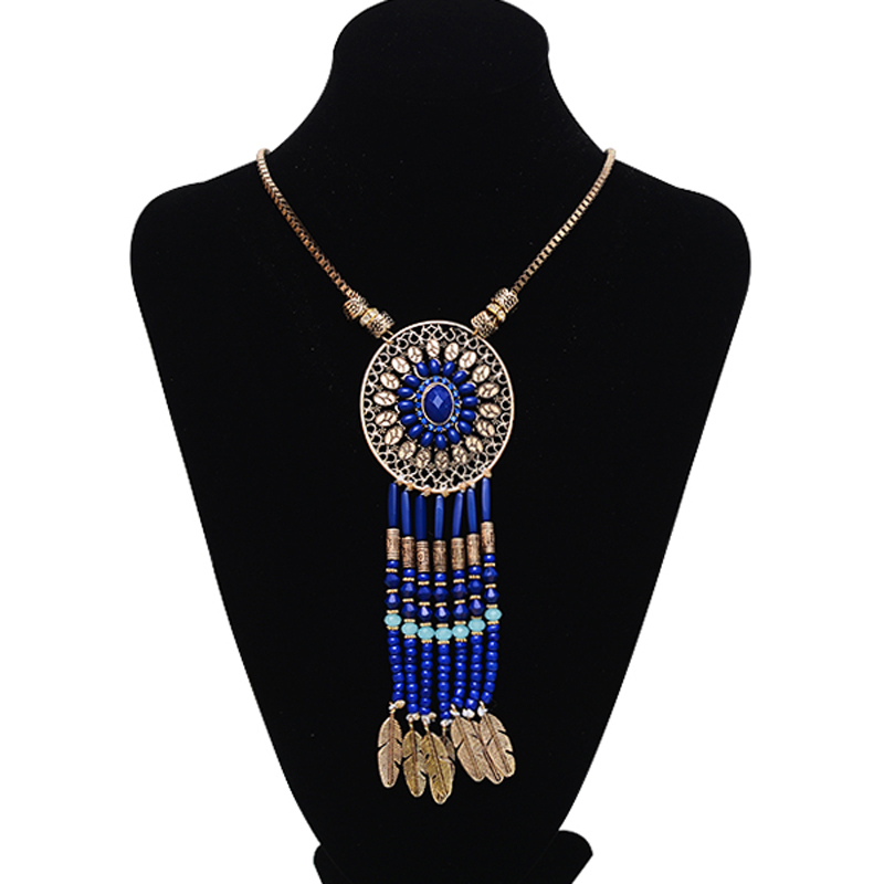 2015 Vintage beads tassel pendants necklaces for women bohemian retro gold long necklaces with crytsal ethnic jewelry