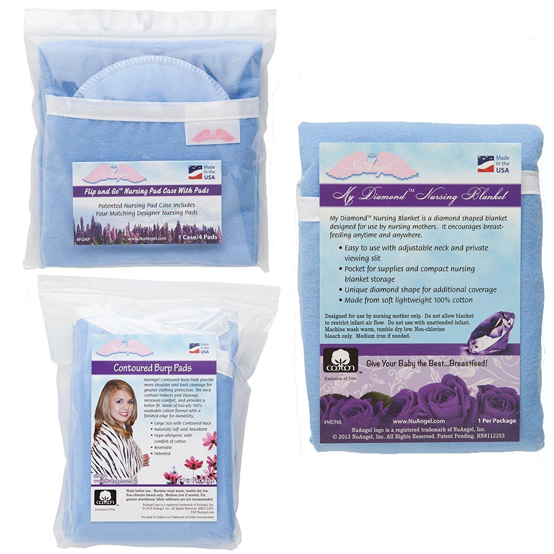 NuAngel Flip and Go Nursing Pad Case with Nursing Blanket and Contoured Burp Pad Set, Blue