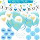 Baby Shower Party Decoration Set for Boy IT'S A BOY Banner & Balloons MOMMY TO BE Sash Blue Paper Flower Decor Favors Pacifiers
