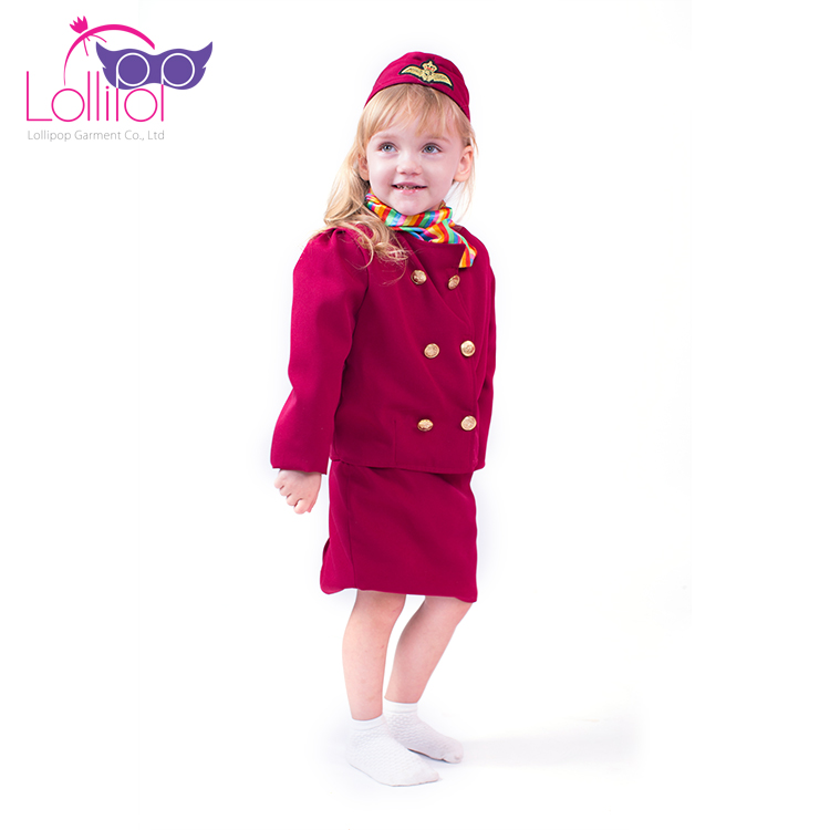 Halloween carnival girls flight attendant role play outfits costume, kids custom good quality cosplay costumes for sale