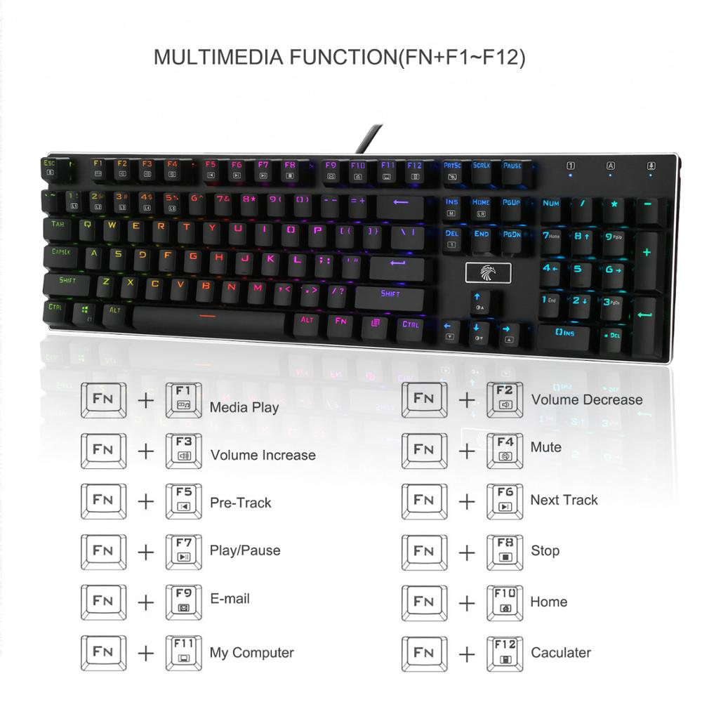 003f69507c5 Z88 Brown Switches Mechanical Gaming Keyboard 104 keys Anti Ghosting Compact  Wired Gamer Mechanical Keyboards