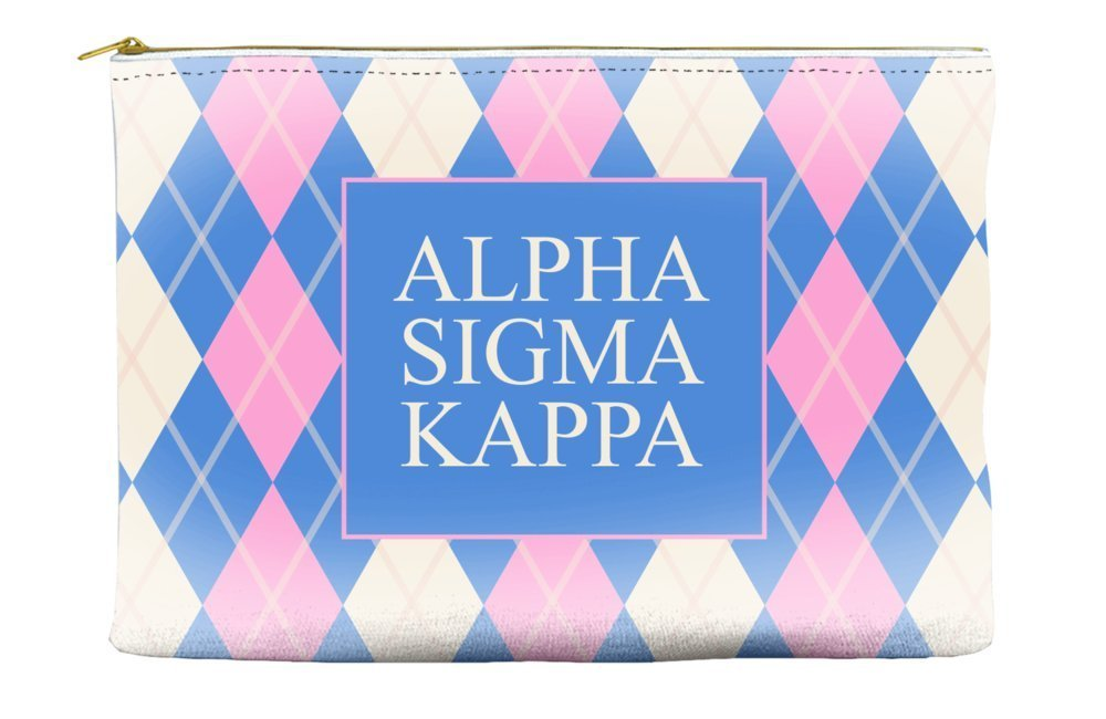 Alpha Sigma Kappa Argyle Pattern Pink Blue Cosmetic Accessory Pouch Bag for Makeup Jewelry & other Essentials