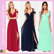 2016 New Design Dropship 3 Colors Tunic High Slit Long Evening Dress For Women