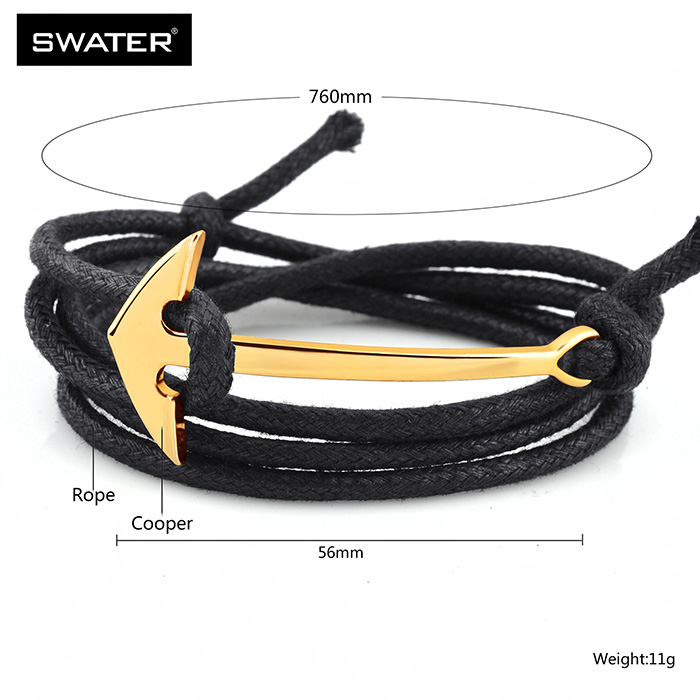 Trendy European Men Wrap Rope Gold Plated Nautical Rope Bracelet