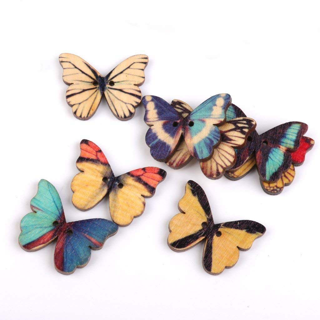 100Pcs Da.Wa Butterfly Flatback Natural Wooden Buttons Scrapbooking For Wedding Costume Decor Sewing Accessories