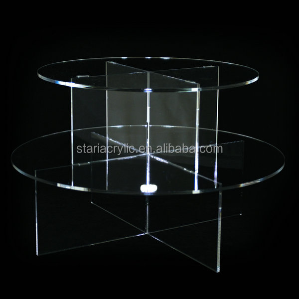 Transparent Acrylic 2 Layer Circle Cake Stand Table, 2 Tiers Clear Acrylic Wedding Birthday Cake Stand