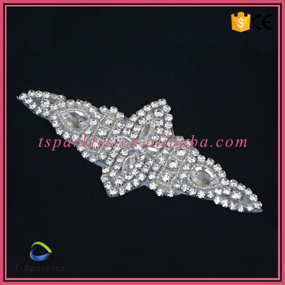 New Products Wholesale Crystal Rhinestone Applique Work Designs for Dresses