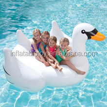 White summer lake swimming water pool kids inflatable float toy ride swan