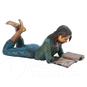Metal Material metal craft decorations bronze life size outdoor reading book children garden statue