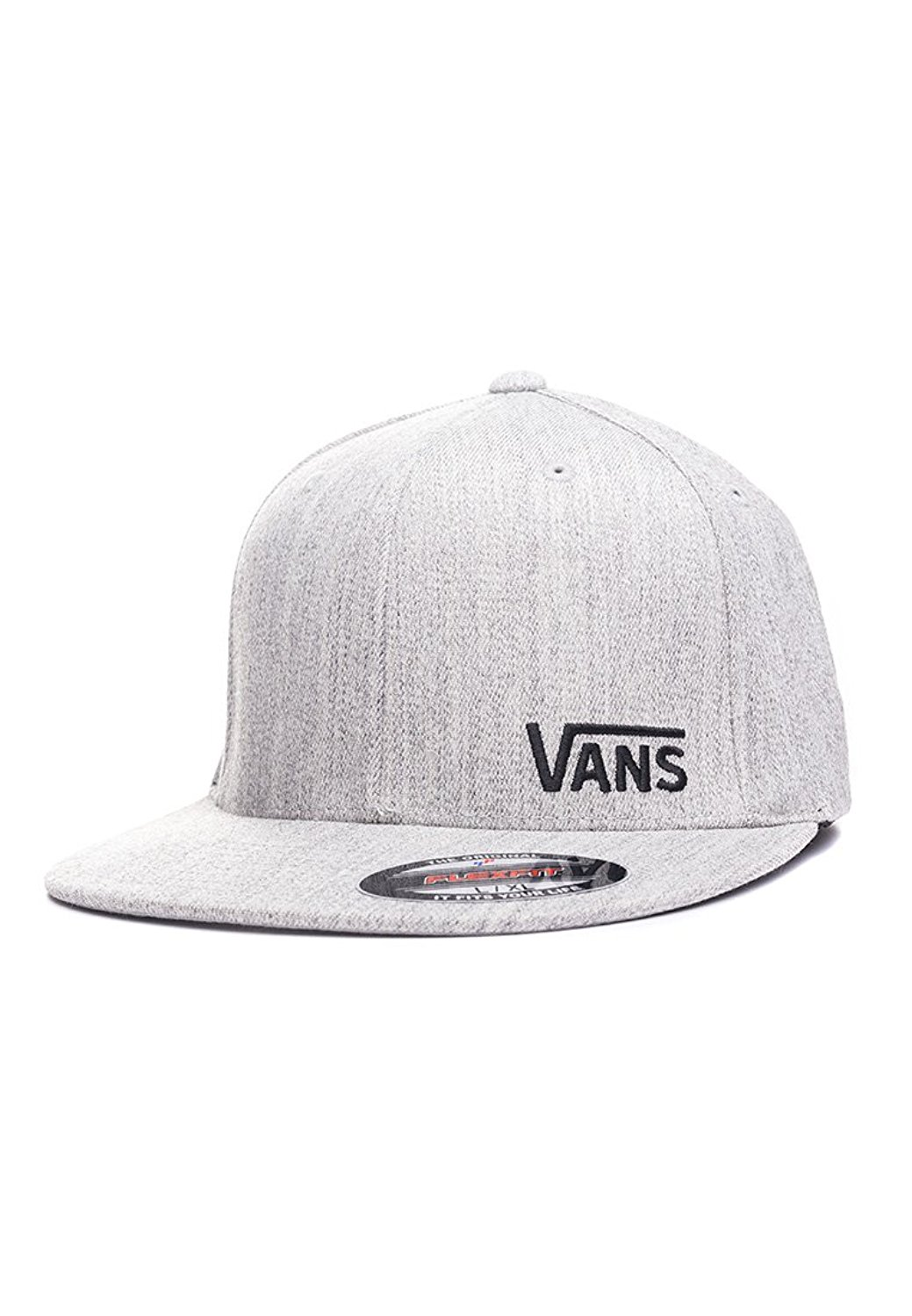 5a1c3448f23 Get Quotations · Vans Heather Grey Splitz Flat Peak Flexfit Cap (S M