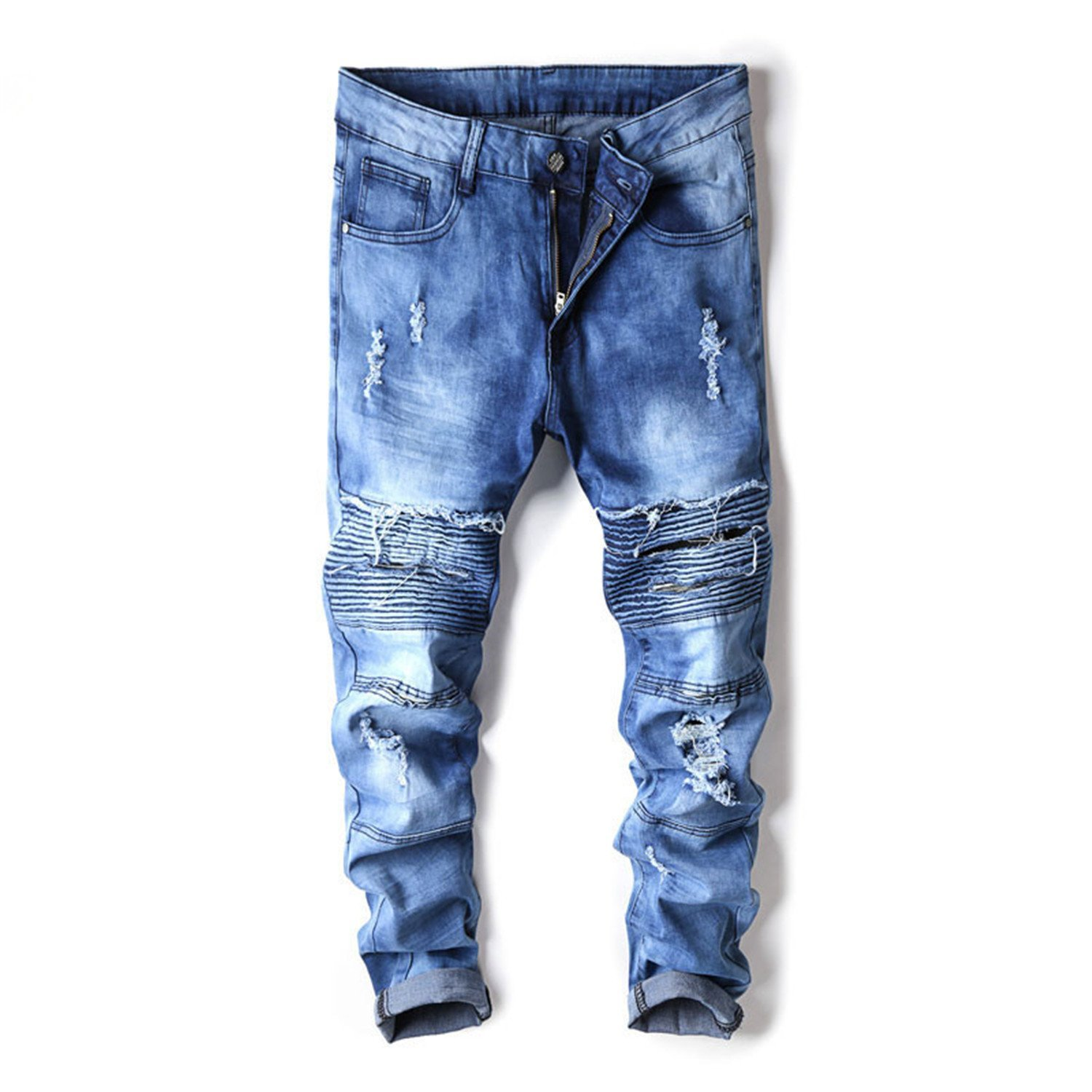 a81c56f19c9 Get Quotations · George Gouge Mens Jeans Fashion New Destroyed Biker Jeans  Men Fashion High Street Ripped Jeans Slim