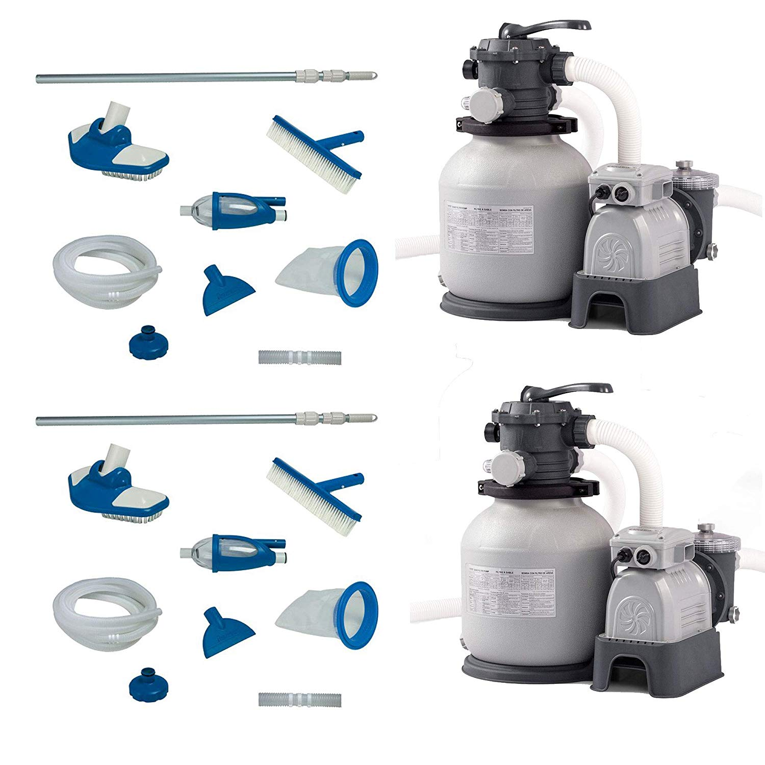 Intex Pool Maintenance Kit w/Vacuum & Pole (2 Pack) & Sand Filter Pump (2 Pack)