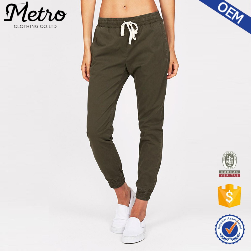Casual Tapered Leg Pants Women Elastic Tencel Khaki Chino Pants
