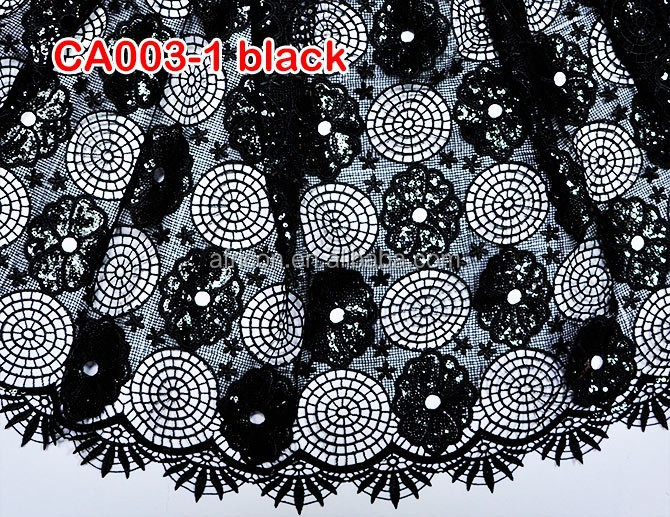 CA003-1black 2015 hot selling printing chemical stretch lace fabric