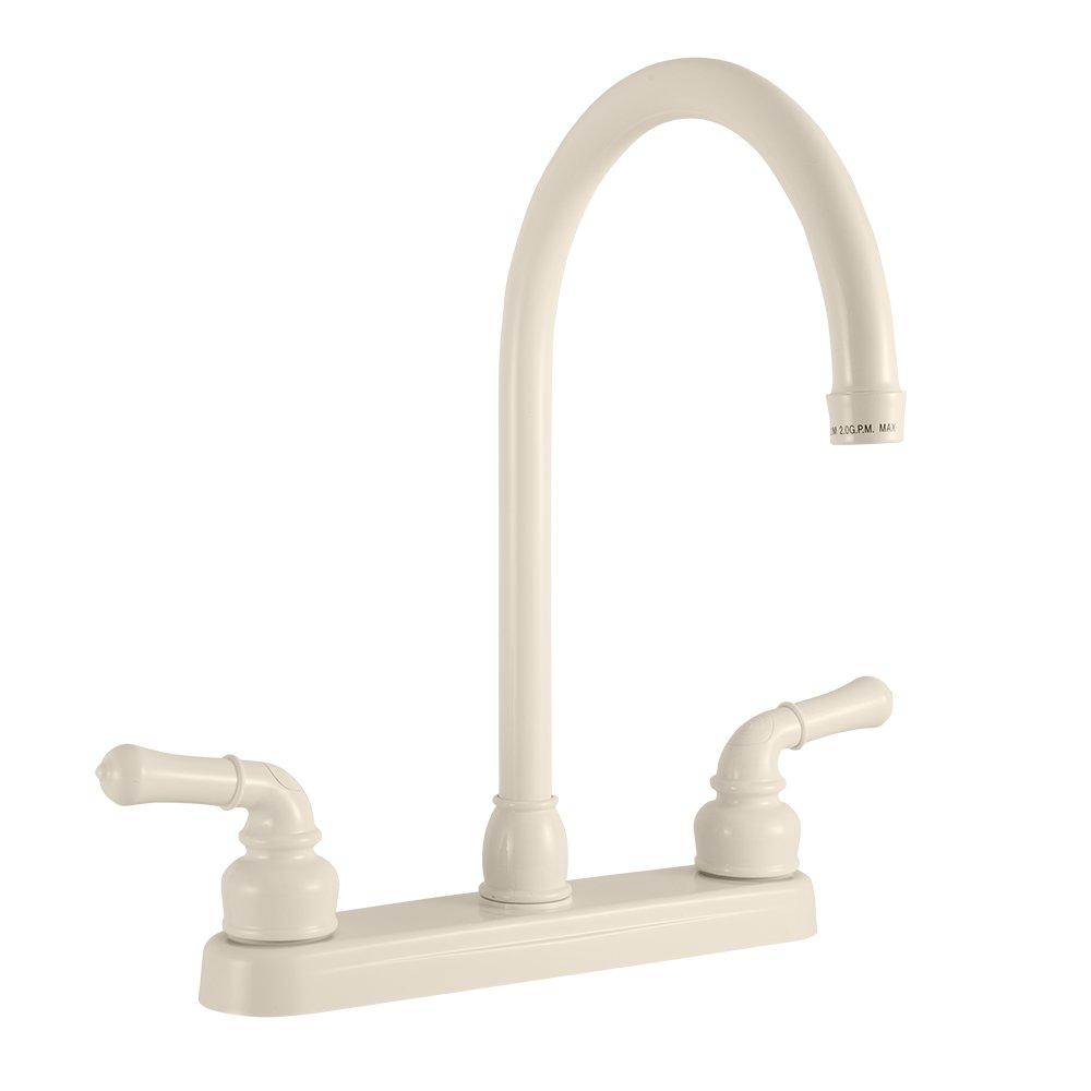 Dura Faucet Kitchen Faucet (J-Spout) - Replacement Faucet for RV, Motorhomes, 5th Wheel, Trailer, Camper (Bisque Parchment) by