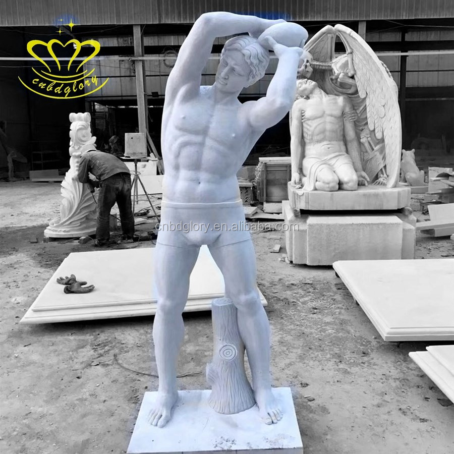 Garden Ornaments Marble Stone Naked Man Sports Figure Statue