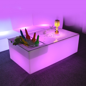 Acrylic large size led bar table with ice bucket for night club with 16 colors changing