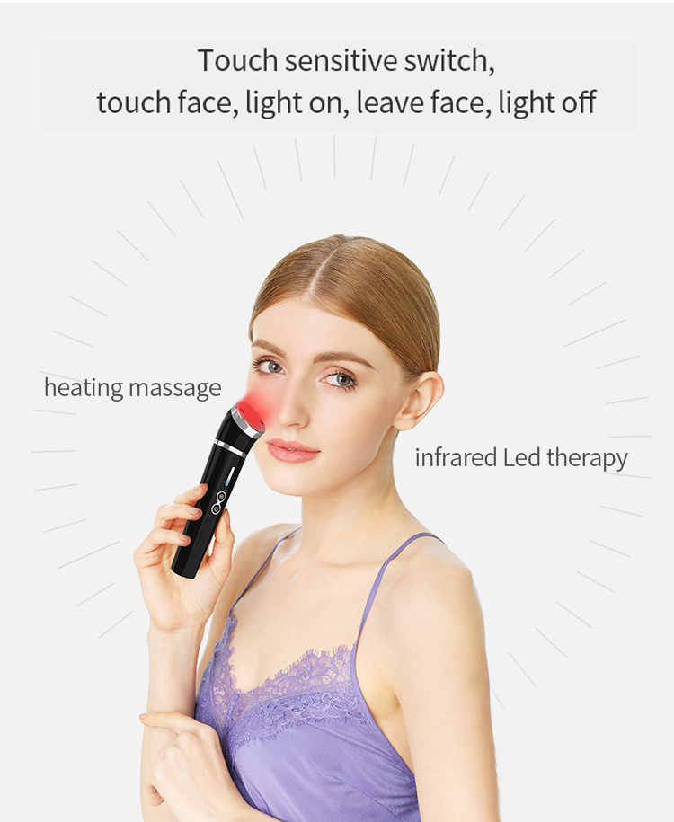 Facial Skin Tightening Lifting Wand Roller Led V Face Machine Infrared Massager With Heat