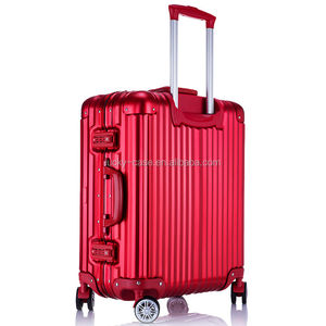 Red Aluminum Hard Trolley Luggage