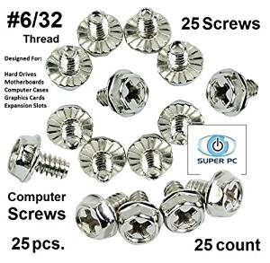 """SUPER PC   Computer Screws 6/32"""" (#6 hole) Hex Phillip's Head with Screws for Computer Case, Hard Drive, Motherboard, or PCI Slot Mounting. (25 pcs)"""