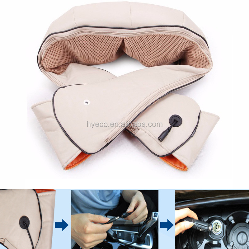 Portable car Home dual use neck shoulder massager shawl with Infrared thermal therapy massage