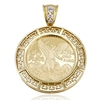 33126 Xuping brass disc accessories jewelry women men metal custom 50 Peso Mexican Commemorative Coin 14k gold plated pendants