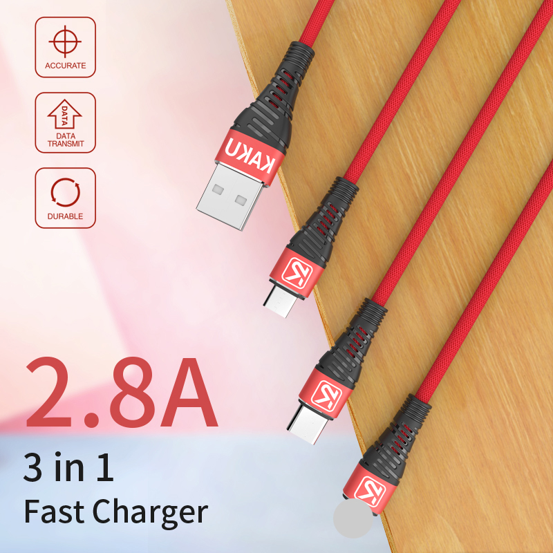 KAKU New premium high grade 3 in 1 usb type c cable for samsung s4 cable android usb cable for ipad iphone