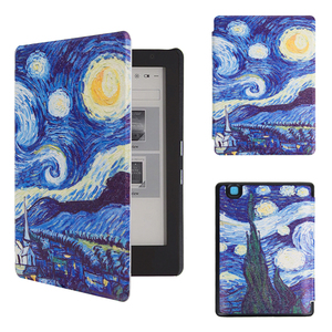Art cover case folio printed painting PU cover case for 2016 Kobo aura edition 2 ereader