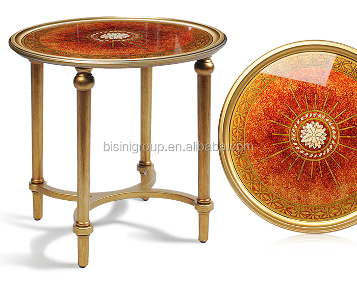Royal European Golden Accent Table Finished By Handpaint