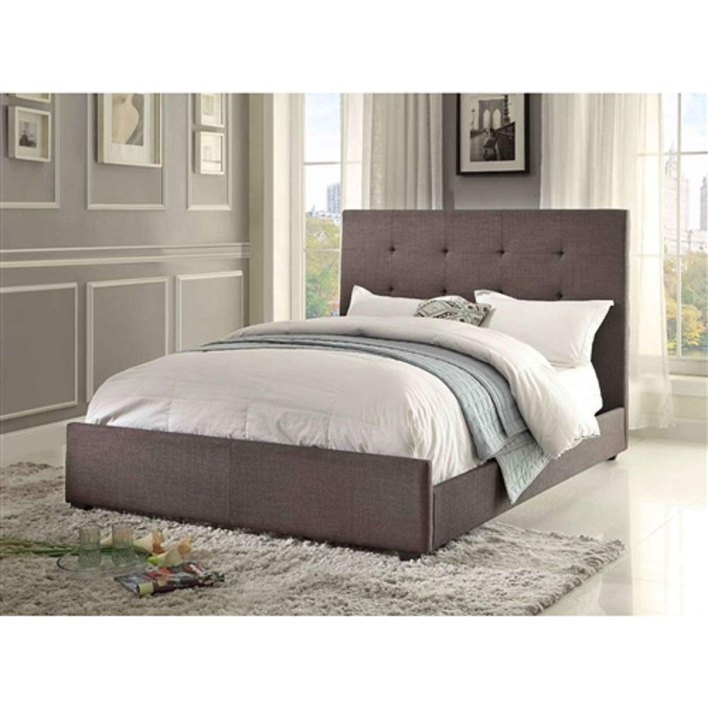 MyEasyShopping Queen size Grey Fabric Upholstered Bed with Tufted Headboard - Boxspring Required Frame Antique