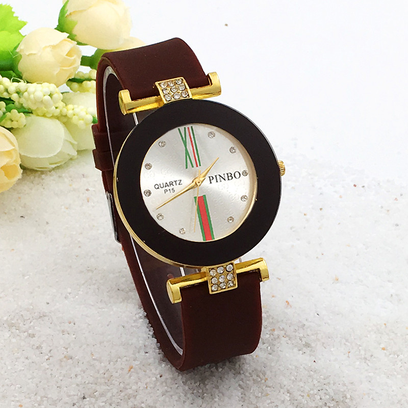 New Fashion PINBO Luxury Brand Gold Casual Quartz Watch Women Silicone Watches Female Dress Wrist Watch Hot Clock