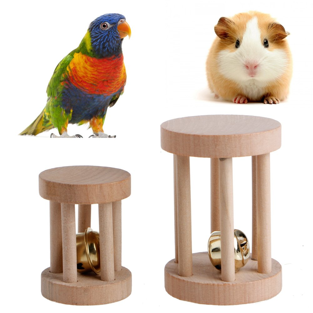 NNDA CO Natural Wood Dumbell Unicycle Bell Roller Chew Toys For Rabbits Hamsters Rat Pet,Wood,1 Pc(Small)