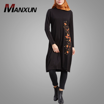 New Fahion Muslim Women Wear Most Beautiful Embroidery Black Abaya Islamic Casual Tops