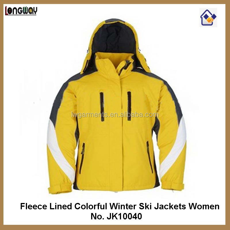 Women fleece lined padded colorful winter ski jackets